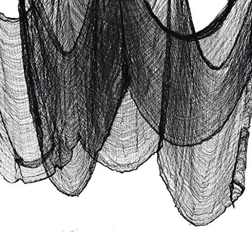 JCT Tela De Halloween Negro Creepy Cloth Halloween Decoration Black 196.8 X 79 Pulgadas (500 * 200CM) Spooky Haunted Houses Decor Hallowmas Party Supplies