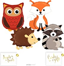 Andaz Press Balloon Party Kit with Gold Ink Signs, Woodland Owl, Raccoon, Hedgehog, and Fox Mylar Balloons, 6-Piece Kit