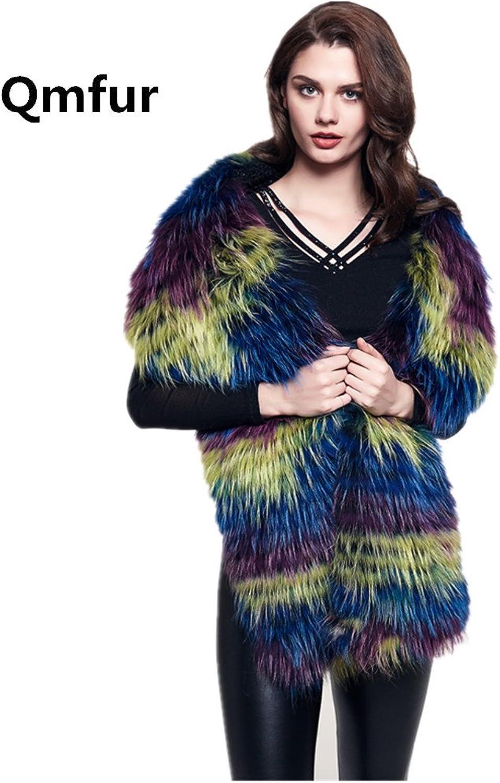 Qmfur Women Real Raccoon Fur Scarf Collar Long Shawl Scarves Stole Wrap Shrug Christmas