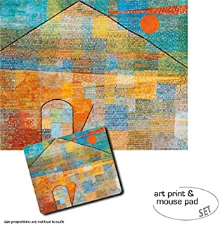 Gift Set: 1 Poster Art Print (20x16 inches) + 1 Mouse Pad (9x7 inches) - Paul Klee, Ad Parnassum, 1932