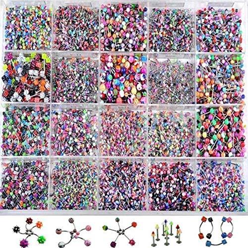 LiQinKeJi8 Anillo en el Ombligo 110 unids Cuerpo Multicolor Piercing joyería de Labio Mezclado ceja Vientre Lengua Barra Anillo Sexy Vintage Cuerpo Piercing para Mujeres para Mujeres (Color : A)