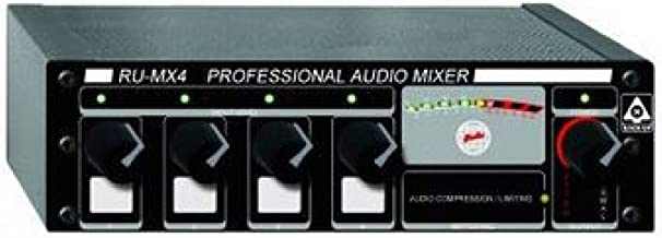 RDL RU MX4 MicLine Mixer 4 CH with Expansion Capability, Switchable 24V Phantom for Each Input - Power Supply Included