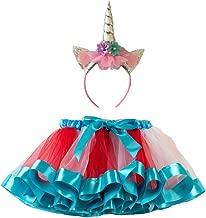 FENICAL Baby Girl Rainbow Tutu Skirt Costume Falda de Ballet Set Unicorn Headwear para Navidad Halloween Carneval Party - Talla L (Azul)