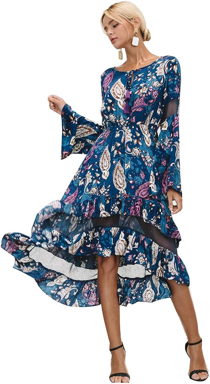 Women Ruffles Print Long Skirt Lady Mesh Hollow Out Flare Sleeve High Waist Autumn Casual Elegant Dress