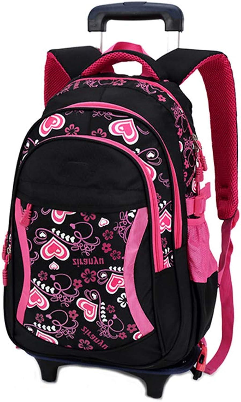 Girls Trolley Rucksack Travel Daypack - Kinder Radschule Bag Langlebige Büchertasche (Schwarz)