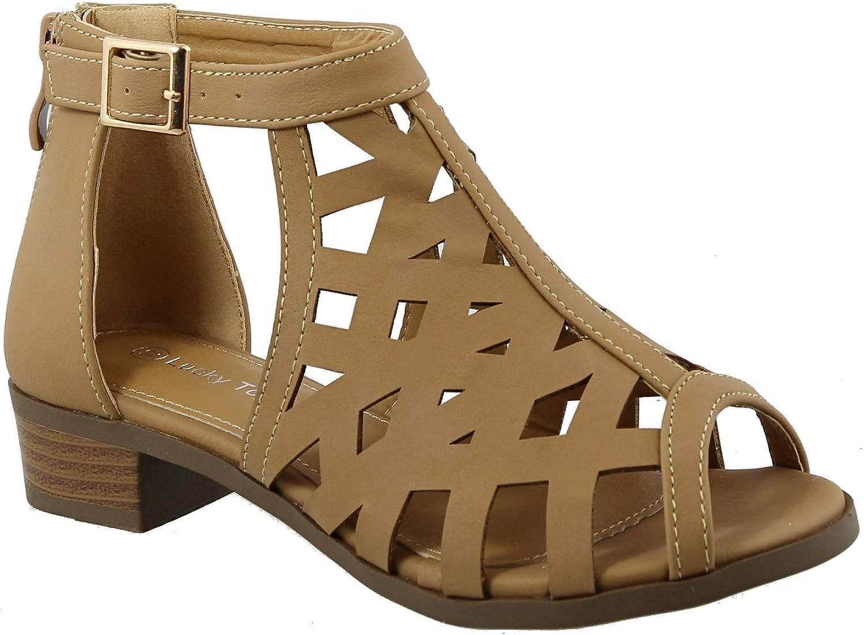 Top Moda Jerry-82 Women's Open Toe Buckle Strap Low Chunky Block Heel Cutout Gladiator Sandals (10 M US Toddler, Tan)