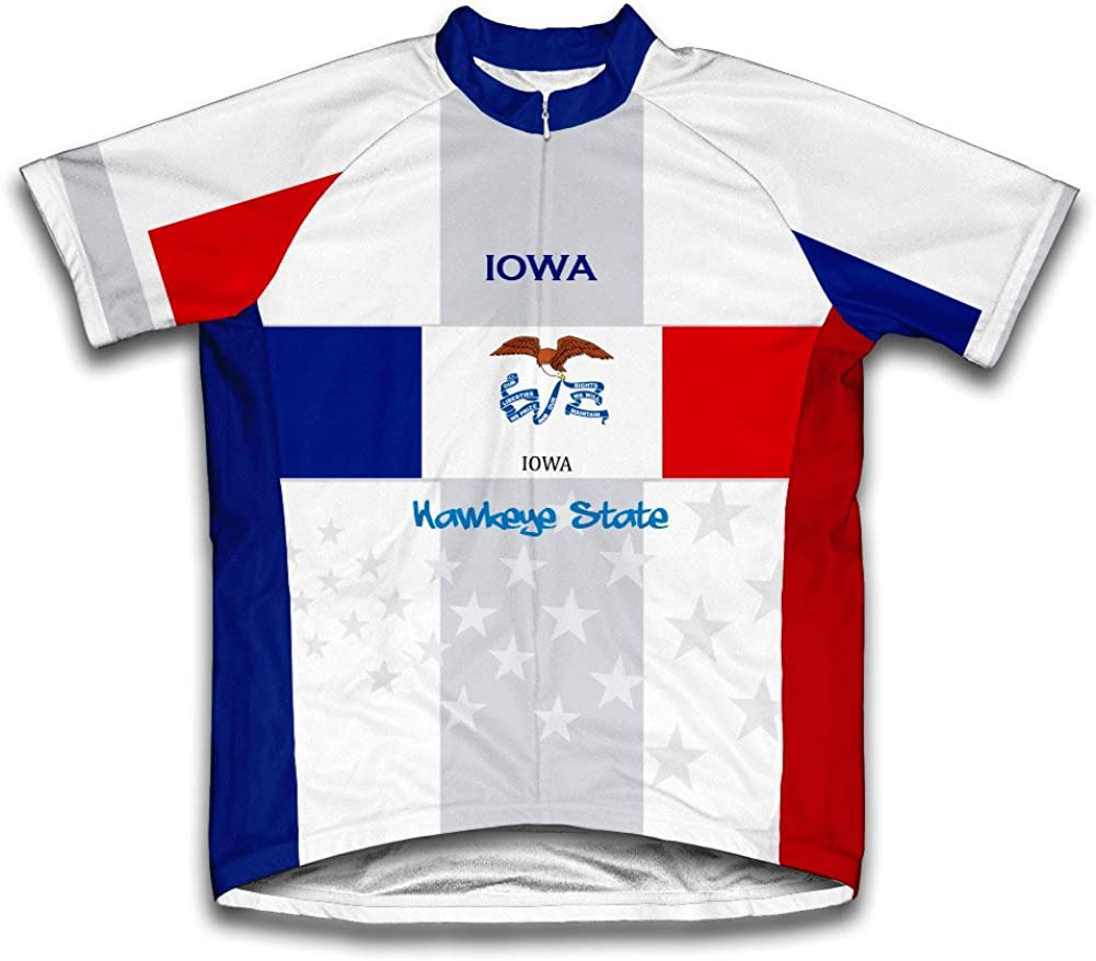 ScudoPro Free shipping / New Iowa Flag Short Sleeve for online shopping Cycling Jersey Men