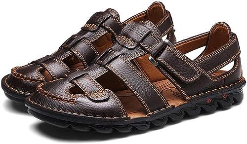 Wennew Sommer-Sandalen Herren Leder Anti-Rutsch Strandschuhe Unterlegte Unterseite Atmungsaktiv Alltagsschuhe Handarbeit Größe Größe Herren Schuhe