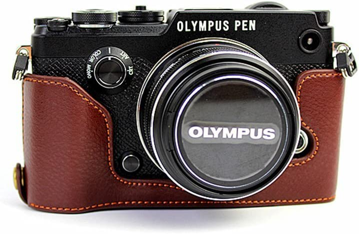 PEN-F Case BolinUS Handmade Genuine Free shipping on posting reviews Half Leather Camera Real Max 81% OFF Ca
