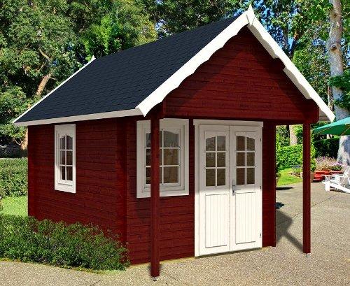 Tuinhuis BUNKIE 40 + slaapvloer blokhuis 290 x 380 + 100 cm luifel houten huis 40 mm