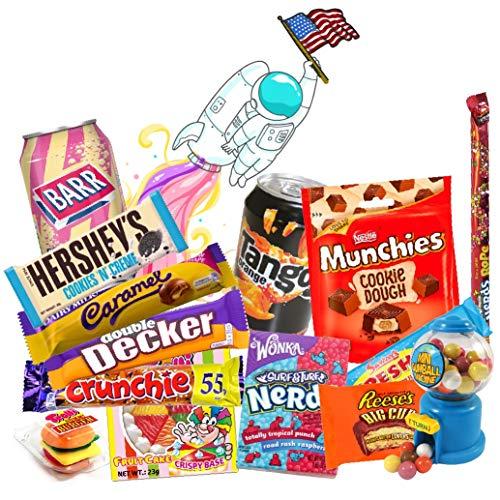 QueenBox® Amerikanische Süßigkeiten Box 13 Teile Süssigkeiten aus den USA Candy Mix mit Getränke Hersheys – nerds – Resses