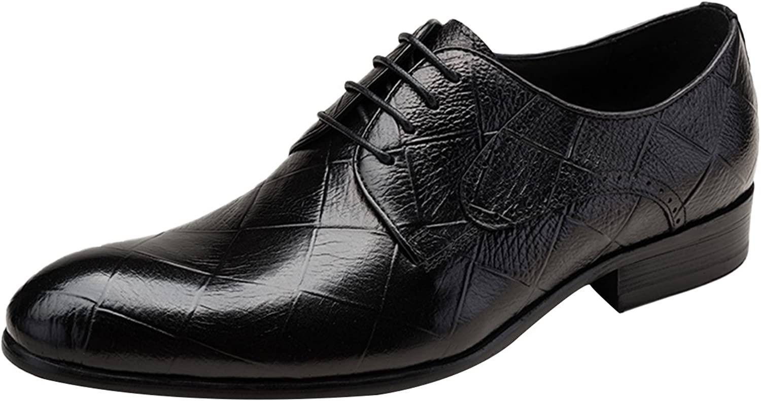 ICEGREY Men's Oxford Leather Wedding shoes Lace up Dress shoes