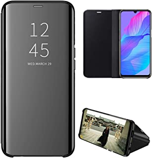Huawei Y8P Case, EabHulie Mirror Plating Hard PC +PU Leather Semi-transparent Standing View Case Cover for Huawei Y8P Black