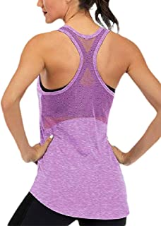 ZXFHZS Womens Open Back Breathable Mesh Workout Tank Tops Yoga Gym Sleeveless T-Shirts