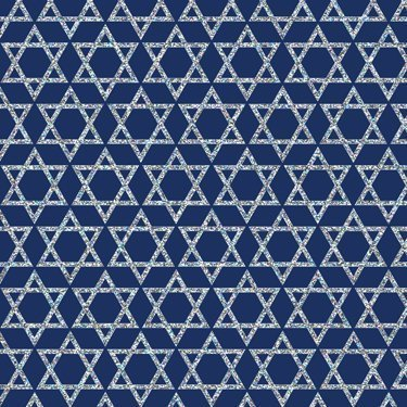 Silver Stars of David on Blue Gift Wrapping Paper Flat Sheet 24' x 6' Wrap Hanukkah