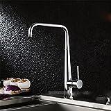 QIMEIM - Grifo mezclador para lavabo, grifo de lavabo, agua fría y caliente, latón cromado y acero inoxidable