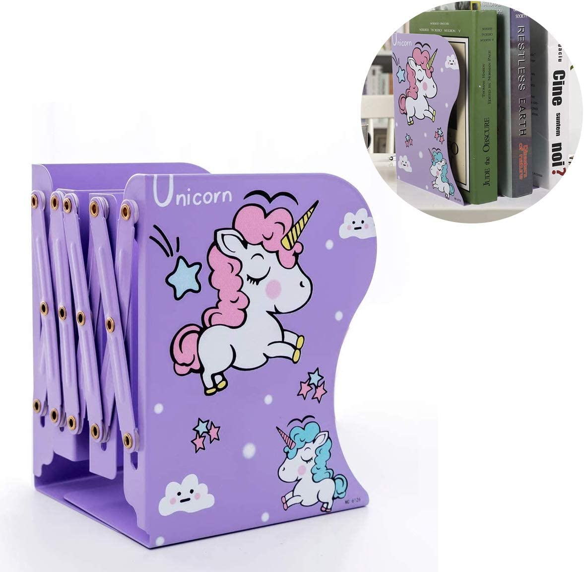 Retractable Bookends,Xiuyer Foldable Heavy Duty Unicorn Adjustable Metal Scalable Bookends Shelves Expanding Book End File Holder Nonskid Bookend For Home Office School Library Purple Blue