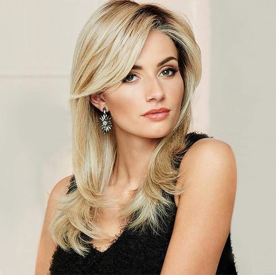 軽減する同情ピストンブロンドのボブ65 cmのための自然なヘアライン実体波正面髪のかつらで女性の長い合成かつら
