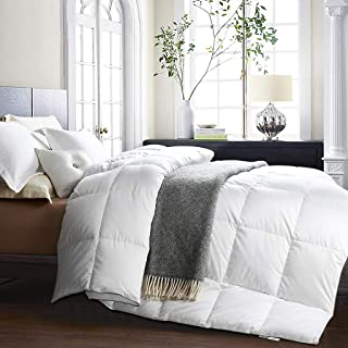 Awenia Goose Down Comforter Queen Size All Seasons Breathable Duvet Insert, 750+ Fill Power, 50 oz Fill Weight, Luxurious White Goose Down Comforter with Tabs, White