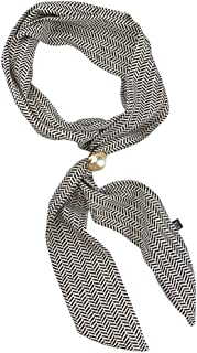 X&F Women's Pearl Self Tie Long Skinny Neck Scarf Hair Bag Scarves Necktie