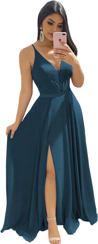 Zyhappk Sales Women's Deep Max 49% OFF V-Neck Bridesmaid Dresses Long A-Lin Simple