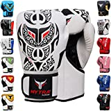 Mytra Fusion Boxing Gloves 10oz 12oz 14oz 16oz Boxing Gloves for Training Punching Sparring Punching Bag Boxing Bag Gloves Punch Bag Mitts (14-OZ, White Black)