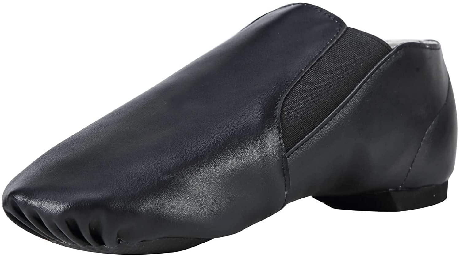 Dynadans Unisex PU Leather Upper Slip-on Jazz Shoe with Elastics for Women and Men's Dance Shoes