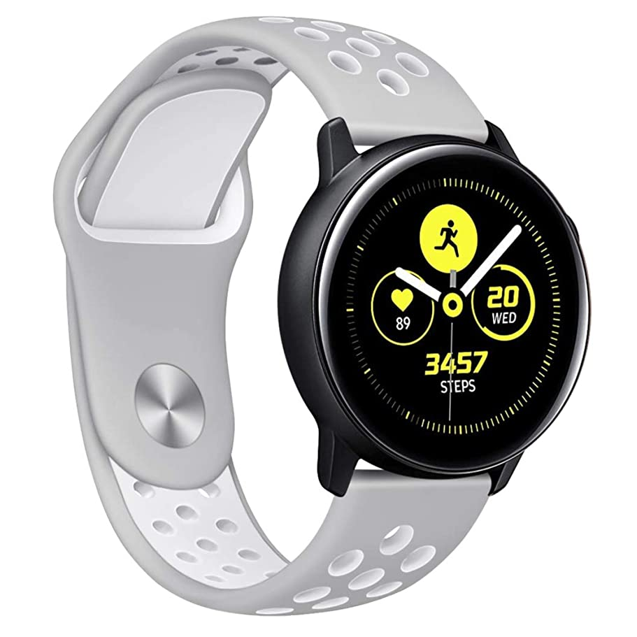 カーペットワンダーカウンターパートComtax for Samsung Galaxy Watch Active ベルト 交換用バンド 柔らかいシリコン製ストラップ 多色選択 調整可能 スポーツ 対応Samsung Galaxy Watch Active (L, グレー+ホワイト)