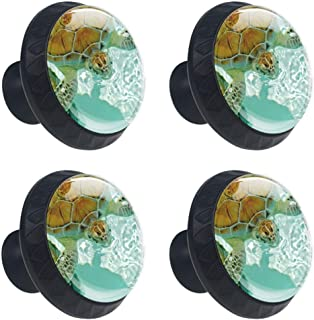 LORVIES Endangered Sea Turtle Blowing Bubbles Drawer Knob Pull Handle Crystal Glass Circle Shape Cabinet Drawer Pulls Cupboard Knobs with Screws for Home Office Cabinet Cupboard (4 Pieces)