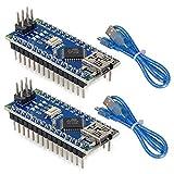 Makerfire 2pcs Nano V3.0,ATmega328P Microcontroller Board,Nano Board CH340G Chip 5V 16MHz with 2pcs 245mm USB Cable, Compatible with Arduino Nano V3.0 for Arduino