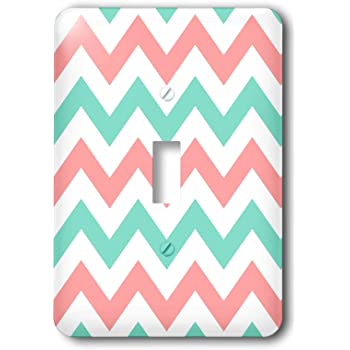 3dRose lsp/_179794/_1 Coral and Gray Chevron Zig Zag Pattern Orange Pink Grey Zigzags Light Switch Cover 3D Rose Home Improvement