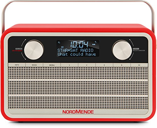 Nordmende Transita 120 tragbares DAB Radio (DAB+, UKW, 24 Stunden Akku, Aux In, Wecker, 2 Weckzeiten, Sleeptimer, Snooze-Funktion, Kopfhöreranschluss) rot