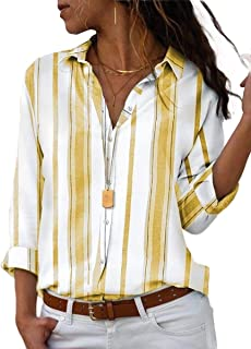 Howely Women's Stripe Loose Casual Long Sleeve Button Down Blouse Top