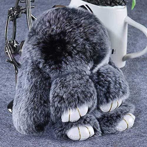 Lindo Pluff Bunny Conejo Llavero Precioso Oso Panda Animales llaveros Mujeres niñas Bolsa Coche Pom Pom Pompom Falso Llavero de Piel 12 como Imagen