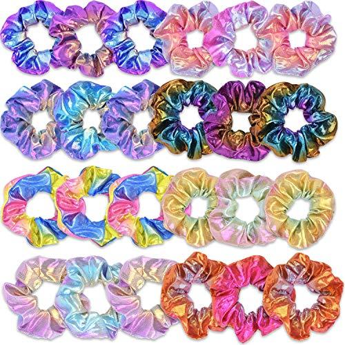 24 Piezas De La Mujer Scrunchies, 8 Colores Sirena Scrunchy Colorida Elástico Del Pelo Del Ponytail De Los Accesorios Del Pelo Para Las Señoras