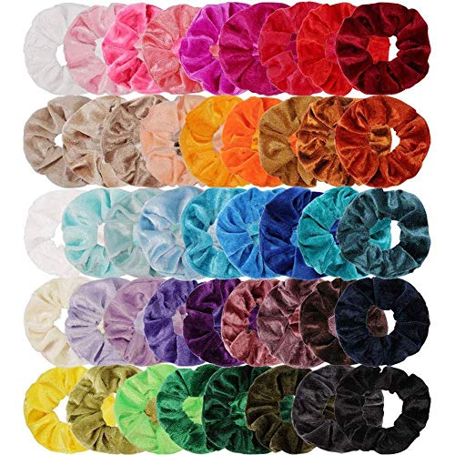 Beeria 45 pezzi di capelli colorati in velluto per donne/ragazze/donna/bambina, fasce per capelli per coda di cavallo, fasce elastiche in tinta unita per chignon