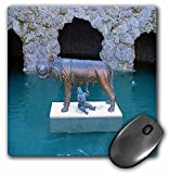 3Drose 8 X 8 X 0.25 Inches Mouse Pad Statue of Baby Suckling on Animal at Hamilton Gardens in New Zealand with Blue Water Around It (mp_49568_1)