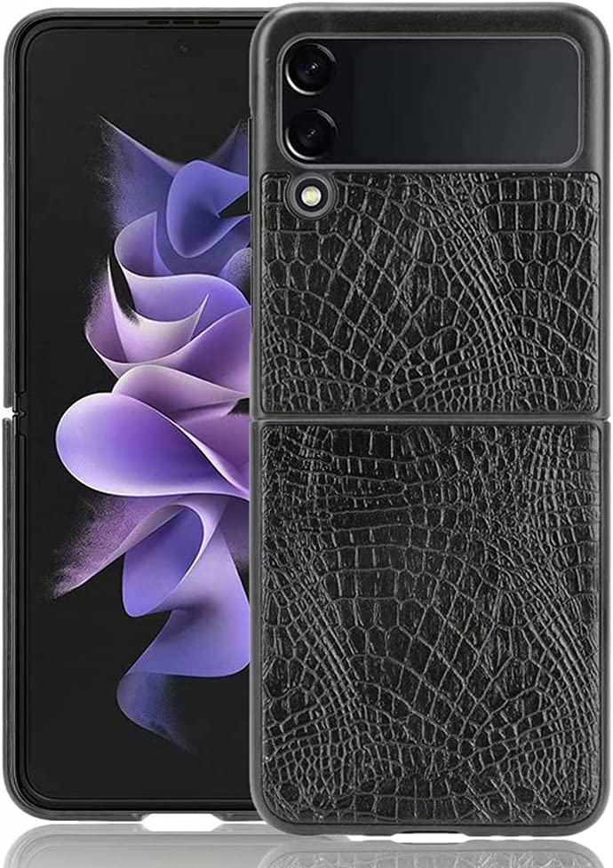 Ranyi for Samsung Galaxy Z Flip 3 5G Case, Slim Flexible Crocodile Pattern Leather Texture Case Shock Absorbing Full Body Protection Leather Bumper Case for Samsung Galaxy Z Flip 3 5G 2021 -Black