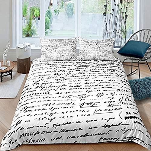 Evvaceo 3D Printed Bedding Set For Children Teens Modern Abstract Romantic Love Letter 220 Cm X 230 Cm Duvet Cover Set With 2 Pillowcases Microfiber Quilt Cover With Zipper Closure Double(king)