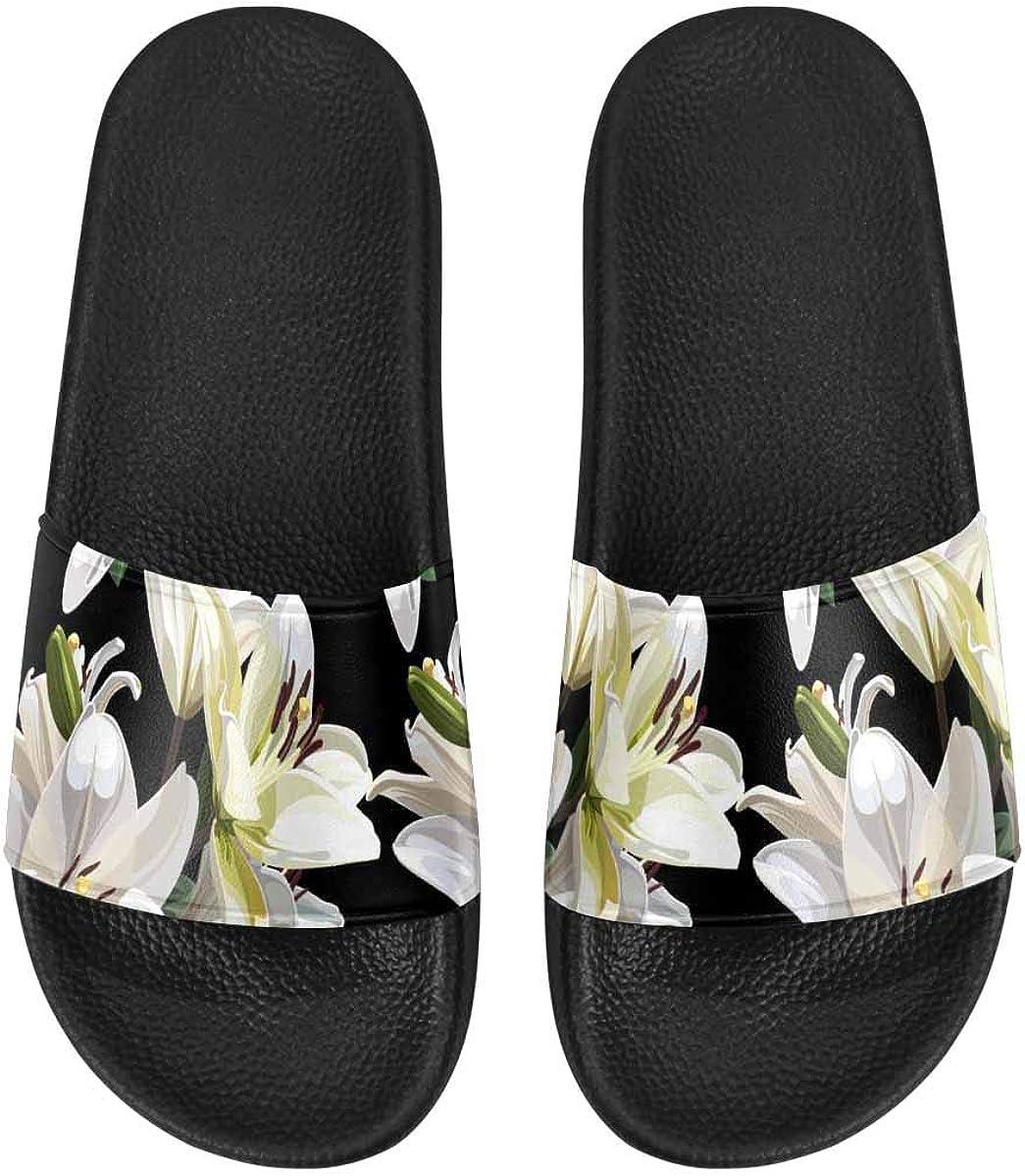InterestPrint Women's Stylish Slipper Sandals Made from Soft Material Tropical Flower Pattern
