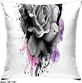 Pillowcases Cover Cotton with Zipper Two Sides Patterns Soft House Decorative Tie Dyed Flowers Daisy Floral Bloom Rose Lily Flower Plants Pink Black Rose (18inch18inch)