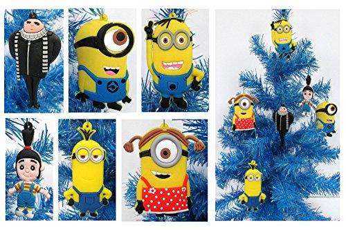 Despicable Me MINIONS Holiday Christmas Ornament Set - Unique Shatterproof Plastic Design