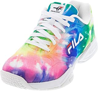 FILA Womens Double Bounce White/Pink Glo/Metallic Silver Pickleball Shoes (5PM00001-156)