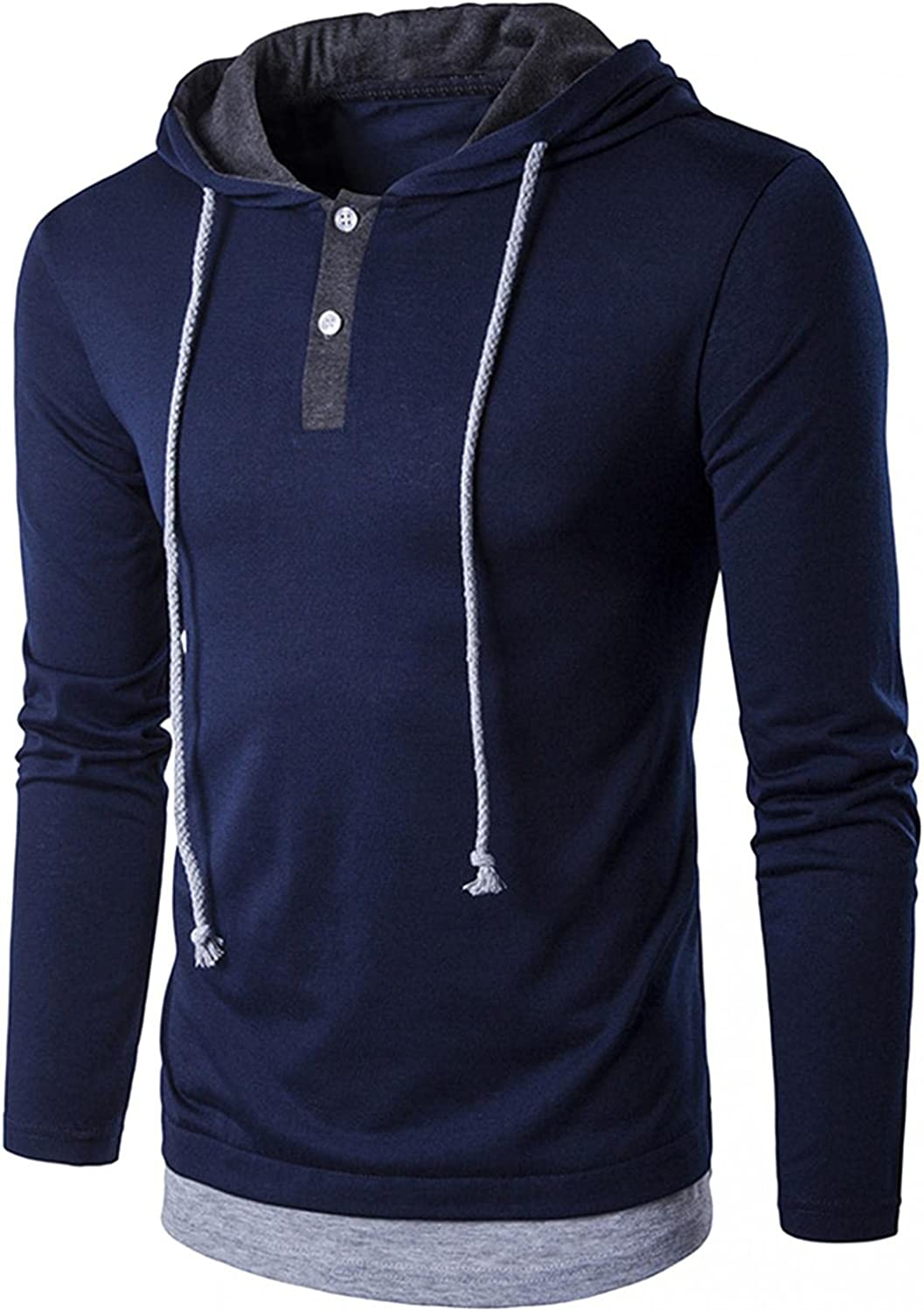 Mens Hooded Pullover Tops Casual Long Sleeve Drawstring Hoodies Regular Fit Cotton Blouse Workout Running Shirts