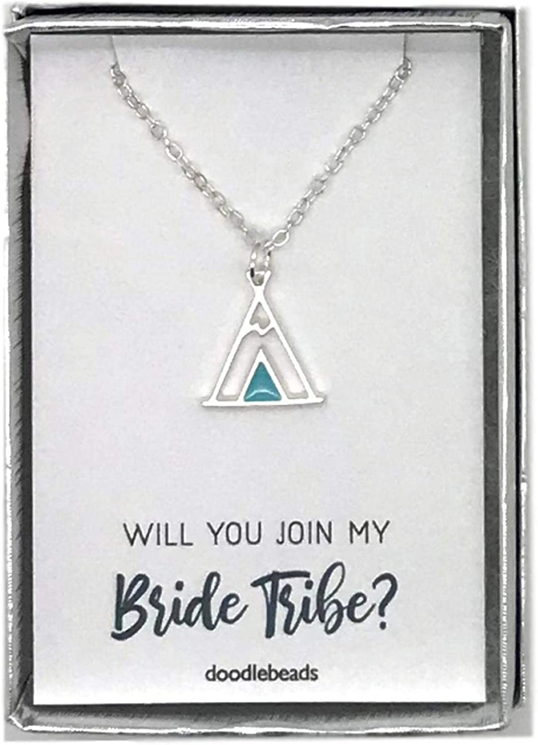Matron of Honor Silver or Gold Teepee Necklace with Card Doodle Beads Bridesmaids Gifts Proposal Gifts Maid of Honor Will You Join My Bride Tribe