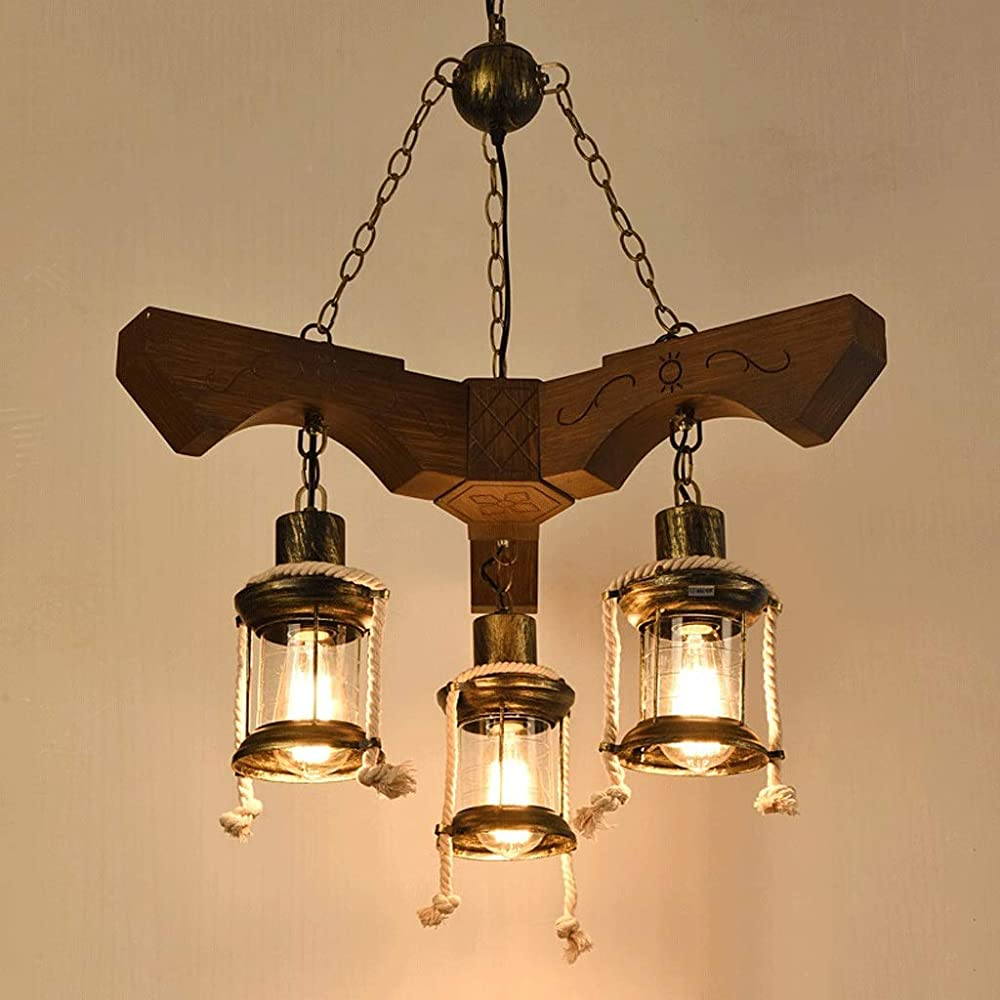 Lampadari in legno stile giapponese 5 luci xajgw