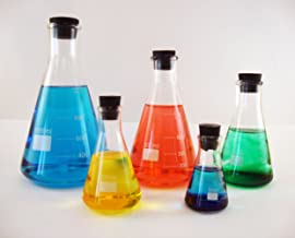 Erlenmeyer Flask Set, 50, 125, 250, 500 and 1000ml with Matching Stoppers