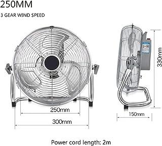 ZMXZMQ Ventilador de escritorio de metal, ventilador de pie a 3 velocidades e inclinación vertical de 130 grados, ventilador de refrigeración perfecto para la oficina en casa, plateado, 250mm