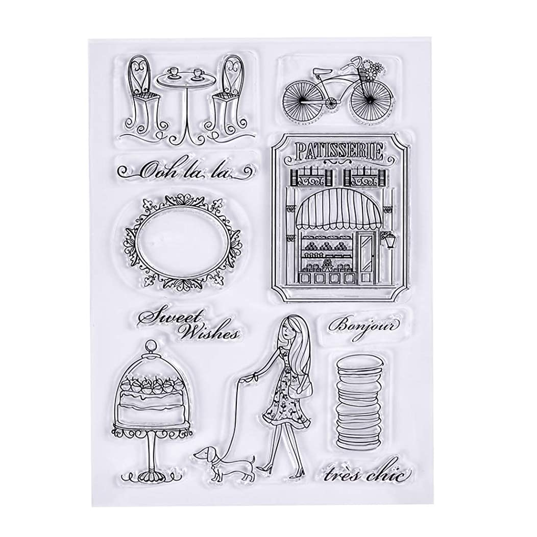 MaGuo Rubber Clear Stamps Girl,Tea,Bicycle for Paper Crafts and DIY Scrapbooking