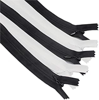 Meillia 40PCS 22 Inch Black an White Invisible Zippers Bulk for Tailor, Sewing, Craft, Sewer, Sewing Crafter (22